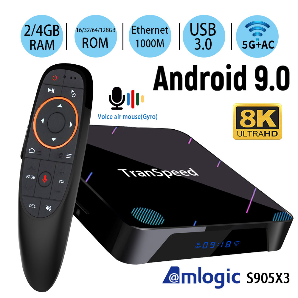 X3 Plus Amlogic S905X3 Android 9.0 TV Box 4GB 32G 64G 128G 1000M wifi 4K 8K Bluetooth Voice Assistan Netflix Set Top Box