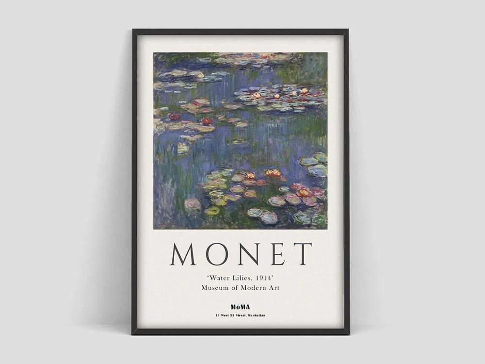claude monet poster monet water lilies museum of modern art exhibition poster claude monet moma print moma art intage print