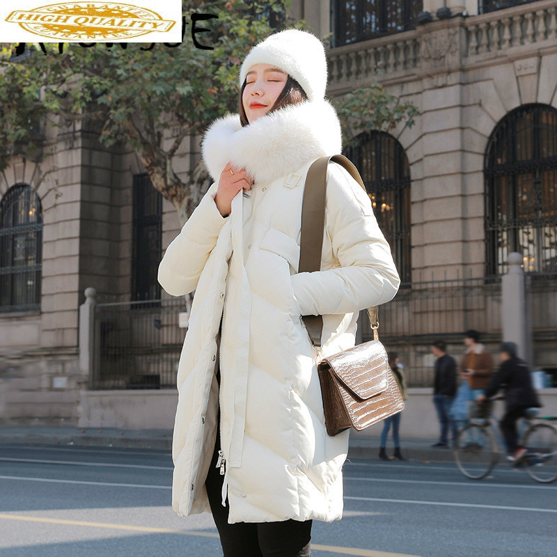 White Duck Down Jacket Women Fox Fur Collar Down Coat Puffer Jacket Winter Coat Women Warm Parka Casaco 8123 YY1222