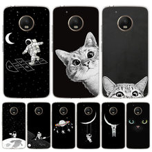 Espace lune mignon chats couverture téléphone étui pour motorola Moto G8 G7 G6 G5S G5 E6 E5 E4 Plus G4 Play ue One Action X4 motif Coque(China)