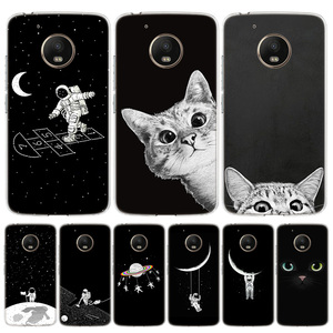 Space Moon Cute Cats Cover Phone Case For Motorola Moto G8 G7 G6 G5S G5 E6 E5 E4 Plus G4 Play EU One Action X4 Pattern Coque(China)