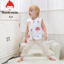 Хлопковый газовый жилет для новорожденных мальчиков и девочек 0-3 лет, 6 слоев, весна-осень Модный Детский кардиган, жилет с круглым вырезом