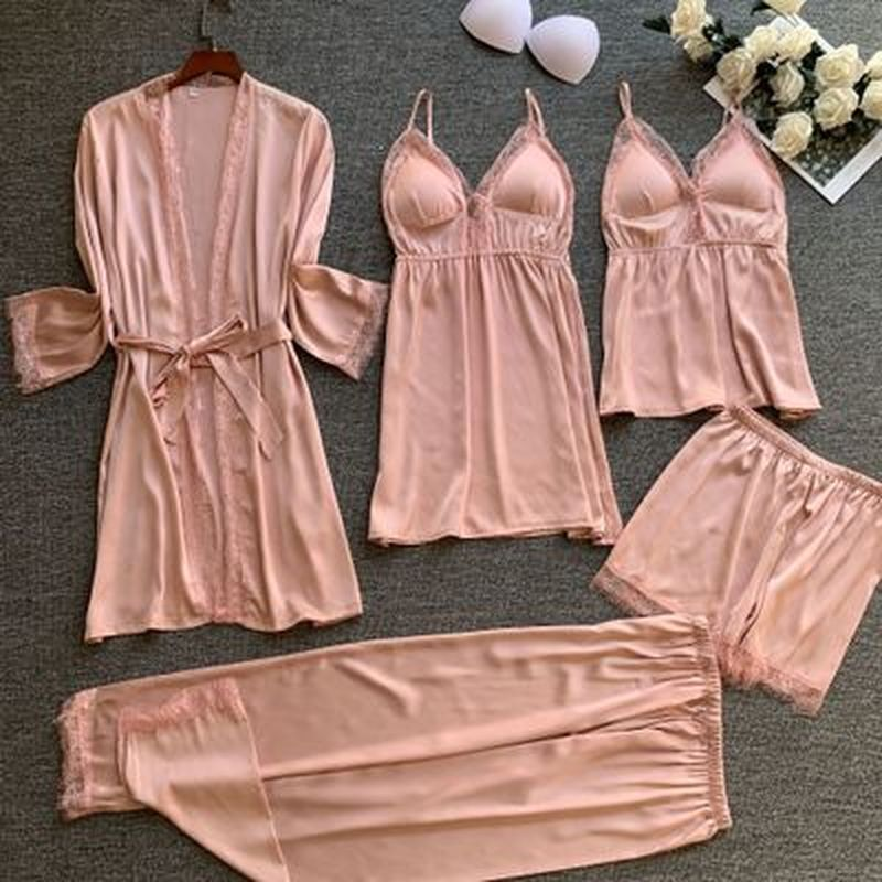 QWEEK 5 Pieces Woman Pajama Sets Silk Lingerie Nightwear Lounge Wear Night Suits Ladies Sleepwear Lace Pijamas With Chest Pad