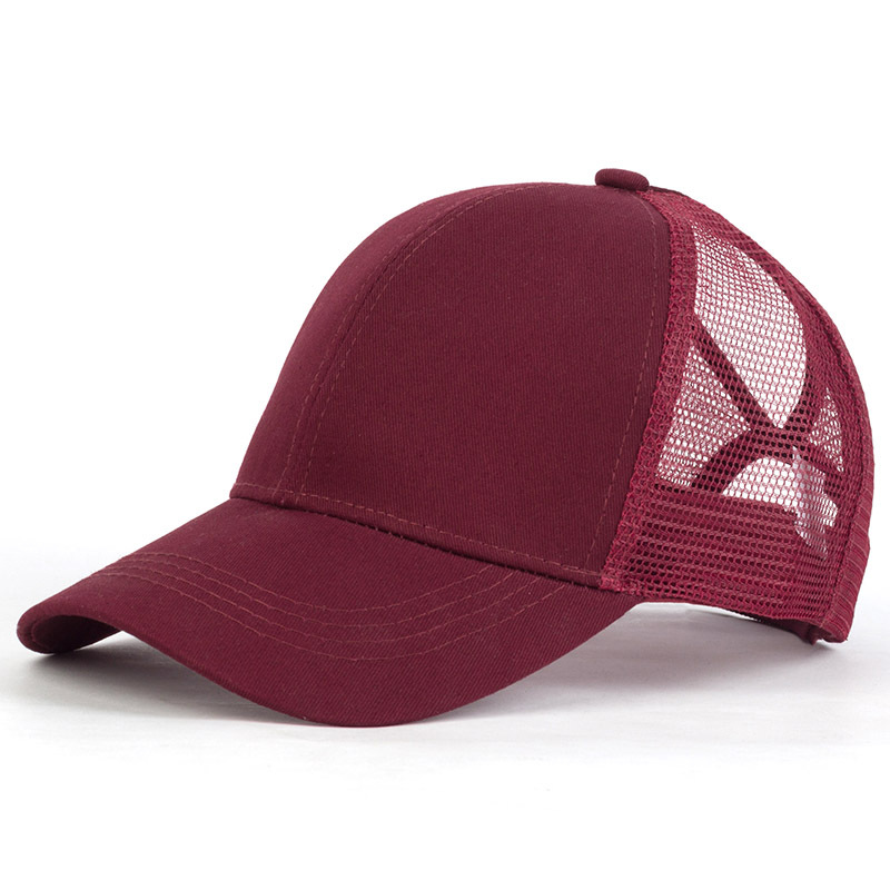 Letnie oddychające kucyk czapka z daszkiem kobiety na świeżym powietrzu regulowana czysta kolor Messy Bun Snapback czapka z daszkiem sport na co dzień kapelusze przeciwsłoneczne