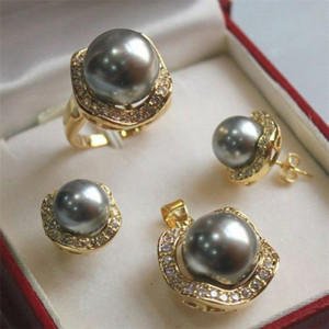 Image 4 - FYS004 Multi color Choices White green  AAAA CZ White  South Sea Shell Pearl Ring Pendant Earring Jewelry Set