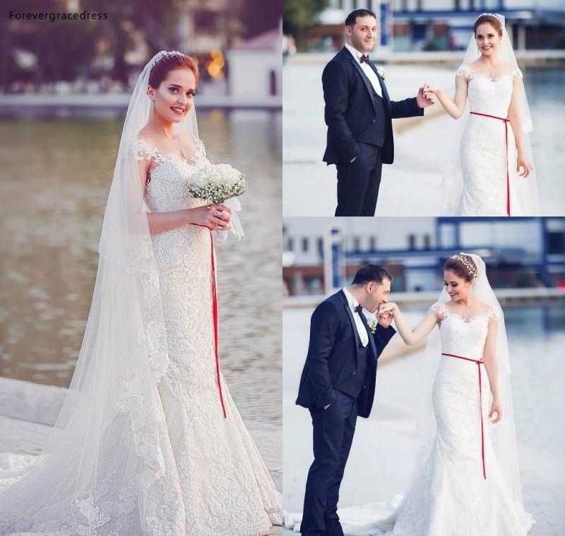 Arabic Princess White Lace Mermaid Wedding Dress Lace Appliques Church Formal Bride Bridal Gown Plus Size Custom Made