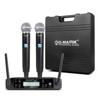 Micrófono inalámbrico G-MARK D4, UHF profesional, dinámico, frecuencia automática, 80M, para fiesta, escenario, espectáculo en Iglesia