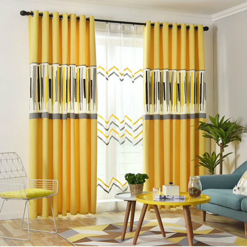 Modern Simple Yellow Art Geometric Blackout Curtains For Living Room Nordic White Stripe Curtains Screen Bedroom Tulle