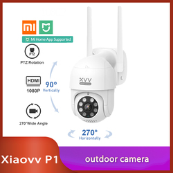Xiaovv P1 IP Camera PTZ Action Camera IP65 Infrared 8 Night Vision Rotation 1080P HD Image Quality Lights Stand By Mi Home App