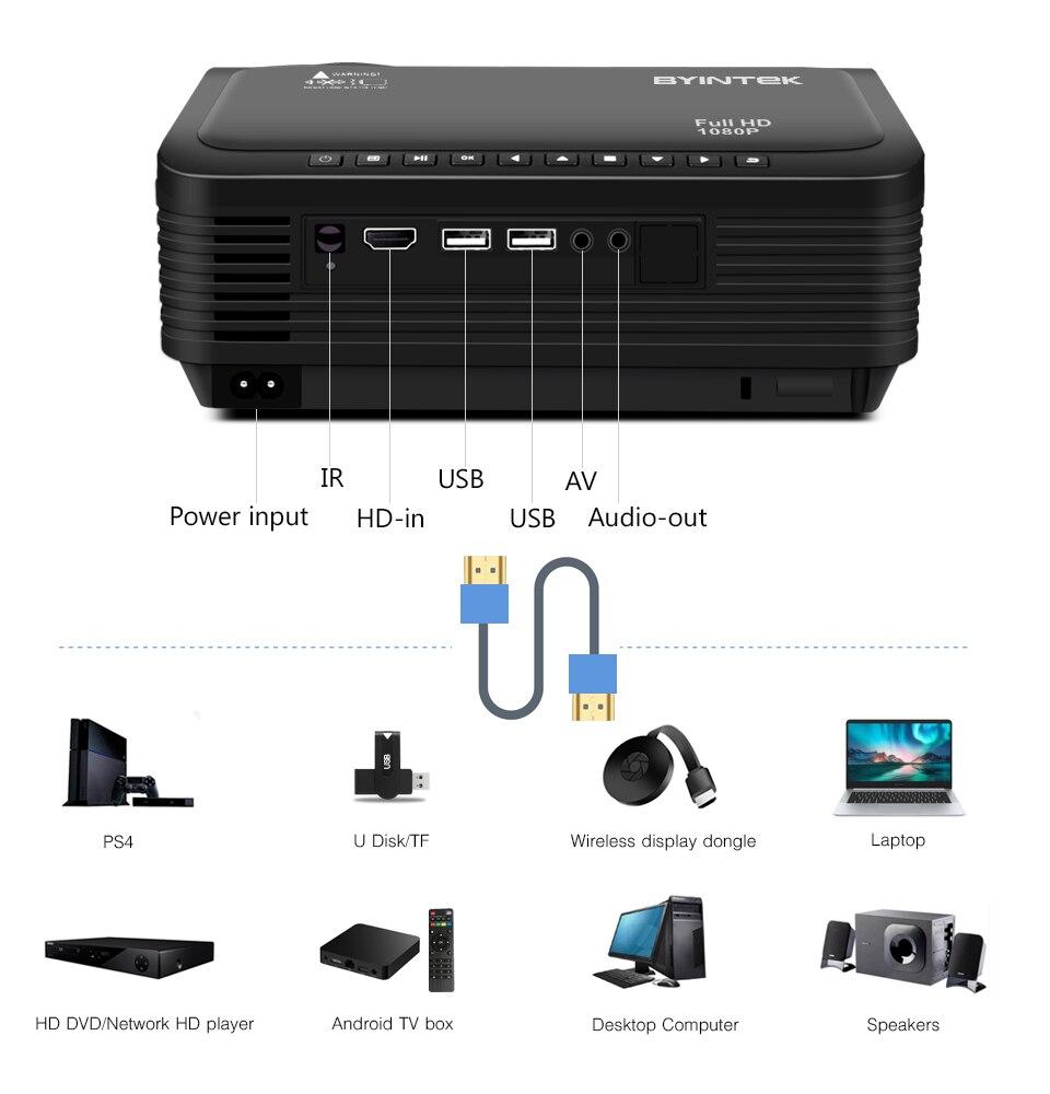 BYINTEK K18 Mais Barato 1920x1080 Full HD 1080P Mini Projetor Portátil Game LCD LED 3D (Opcional Android 10 TV BOX  para Smartphone)-5