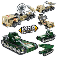 2 Assemble 1 Military Missile launch Truck Tank Block Set Mini Field Army Vehicle BuildingToy For Boys