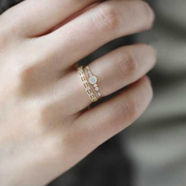 Huitan Trendy Goldene Farbe Frauen Midi Knuckle Ringe Mit Winzigen Stein Romantische O/L Karriere Stil Zubehör Großhandel Viele & groß