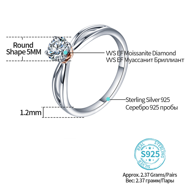 Solide 0.5ct laboratoire cultivé diamant DEF couleur argent 4 broches Moissanite bague de fiançailles Solitaire Moissanite cœurs et flèches anneau