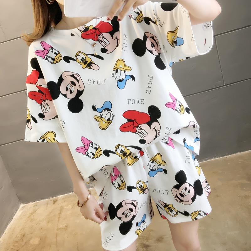 Caiyier 2020 Cotton Round Neck Cartoon Mouse Pajamas Set Summer Short Sleeve Sleepwear Lovely Mickey Leisure Clothes Nightwear