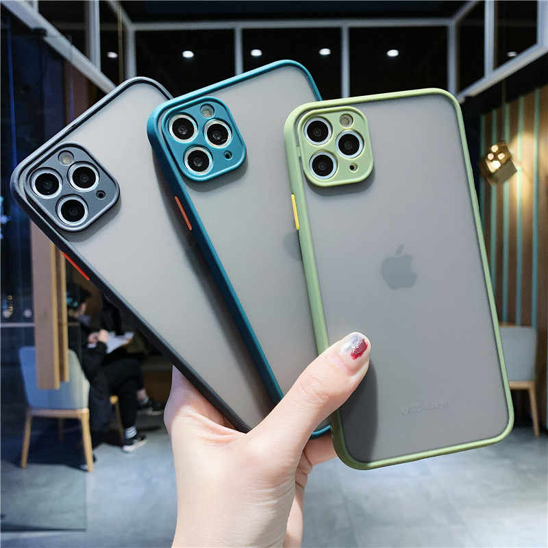Moskado Transparan Matte Phone Case untuk iPhone 11 Pro X XR X MAX Warna Solid Shockproof Hard Pc Back Cover untuk iPhone 7 Plus