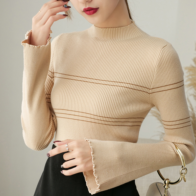 Winter Women Solid Knitted Sweater And Pullovers O-Neck Casual Sueter Mujer Tops Ladies Flare Sleeve Sweet Korean Jumper 2019