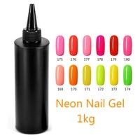 MSHARE Neon Orange Pink Yellow Green Nail Gel Polish Soak Off UV Gel Varnish 1KG