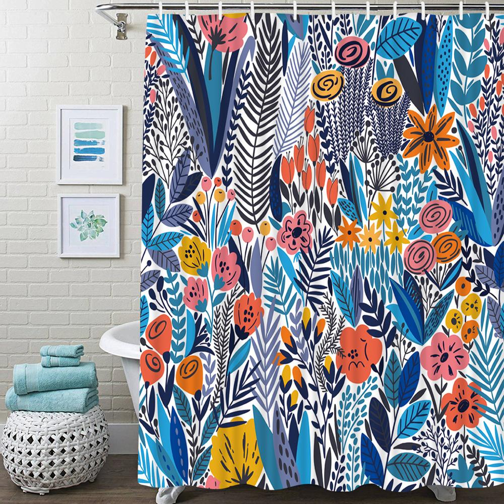abstract floral shower curtain bathroom tropical green leaves bath shower curtain with hooks waterproof bathroom shower curtain