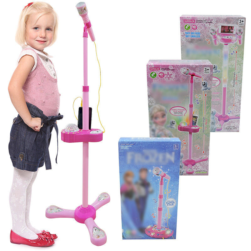 Direct Selling Children Double Canister Microphone PA Microphone Toy With Stand Karaoke Singing Toy Microphone