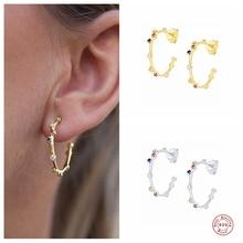 Aide 925 Sterling Silver Big Circle Hoop Earrings For Women Colorful Rainbow Zircon CZ Opening Loop Earring Luxury Fine Jewelry