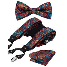 GUSLESON Mens Bretella Floreale Paisley Vari Bretelle Classico 6 Pinze Y Bretelle Forma Bowtie e Pocket Piazza Set(China)