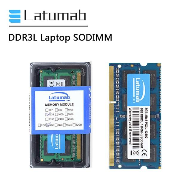 Latumab RAM DDR3L 4GB 8GB 1866MHz 1600MHz 1333MHz 1066MHz 노트북 메모리 SODIMM 1.35V 노트북 메모리 Memoria DDR3 RAM 모듈