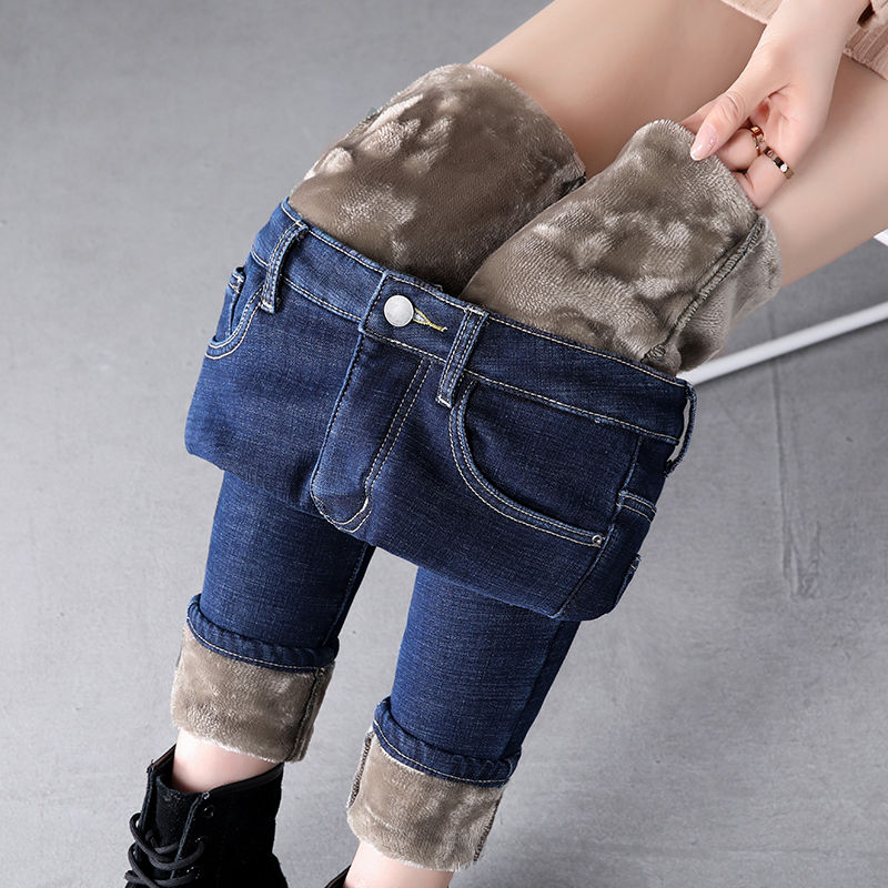 Thick Winter Warm Skinny Jeans For Women Female High Waist Velvet Denim Pants Streetwear Stretch Trousers Plus Size