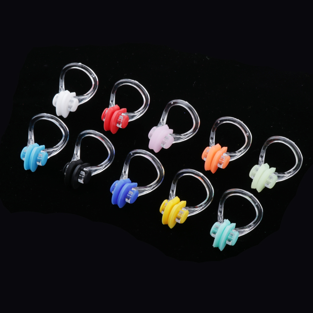 10 Count Swimming Nose Clip Plugs Swimmer Gear Equipment Assorted Color