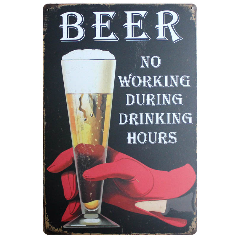 Cold Beer Drinking Vintage Metal Signs Shabby Chic Wall Cafe Home Pub Art kitchen Bar Decoration Cuadros 30X20CM AA 705A in Plaques Signs from Home Garden
