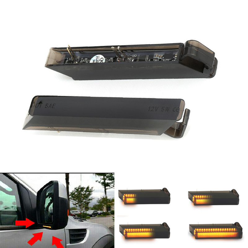 2Pcs Sequential Amber LED Side Mirror Turn Signal Light Lamp Assembly For <font><b>Ford</b></font> <font><b>F150</b></font> Raptor Expedition, Lincoln Mark LT, Replace image