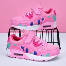 Спортивная обувь для бега; Детские кроссовки для девочек; Кроссовки для подростков; Дышащая Повседневная Уличная теннисная обувь для девочек; Цвет черный, розовый; Большие размеры 37 38
