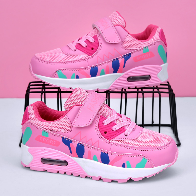 Sports Running Shoes Kids Girls Sneakers Teenager Trainers Breathable Casual Outdoor Tennis Shoes Girl Black Pink Big Size 37-38