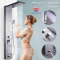 Stainless Steel Shoewr Panel Thermostatic Shower Column Tub Tap Jets ABS Hand Shower Rainfall Bathroom Shower Faucet