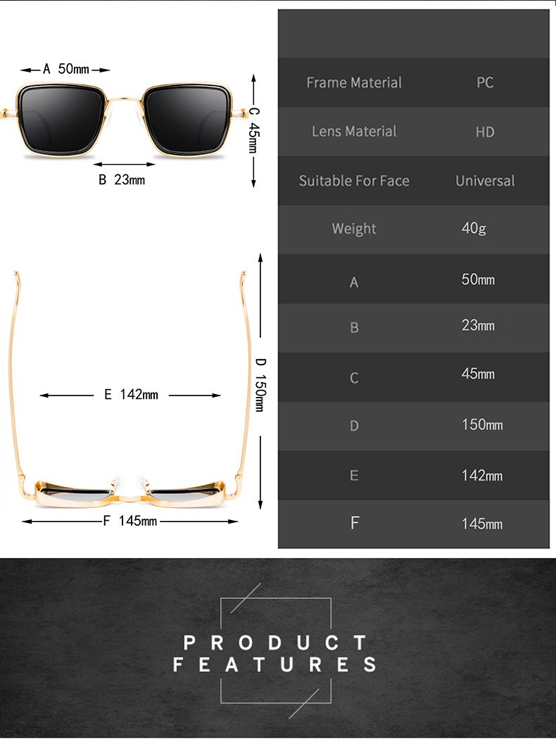Classic Gothic Steampunk Sunglasses Alloy Men Women Brand Designer Vintage Square Metal Frame Sun Glasses High Quality UV400