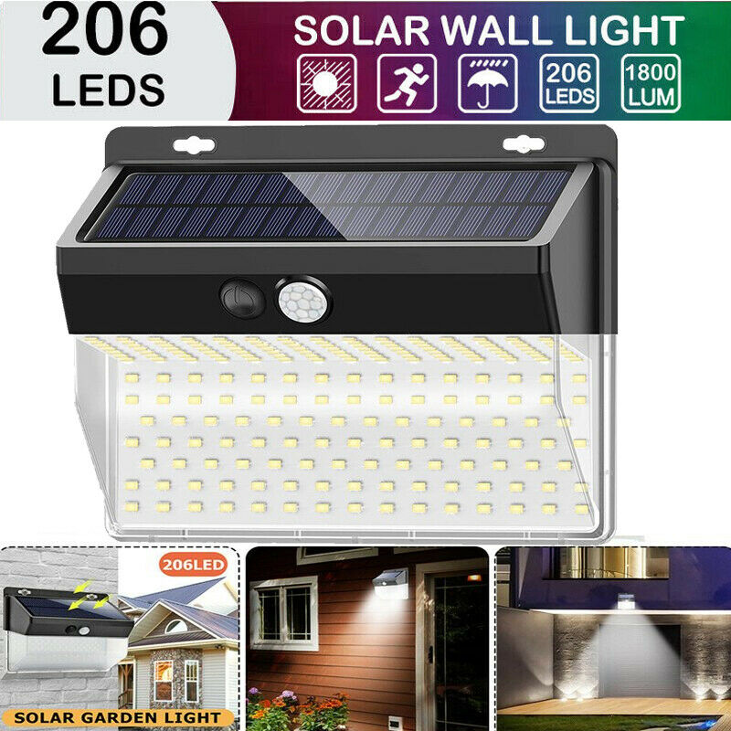 206 LED Solar Powered PIR Motion Sensor Garden Wall Light Security Flood Outdoor