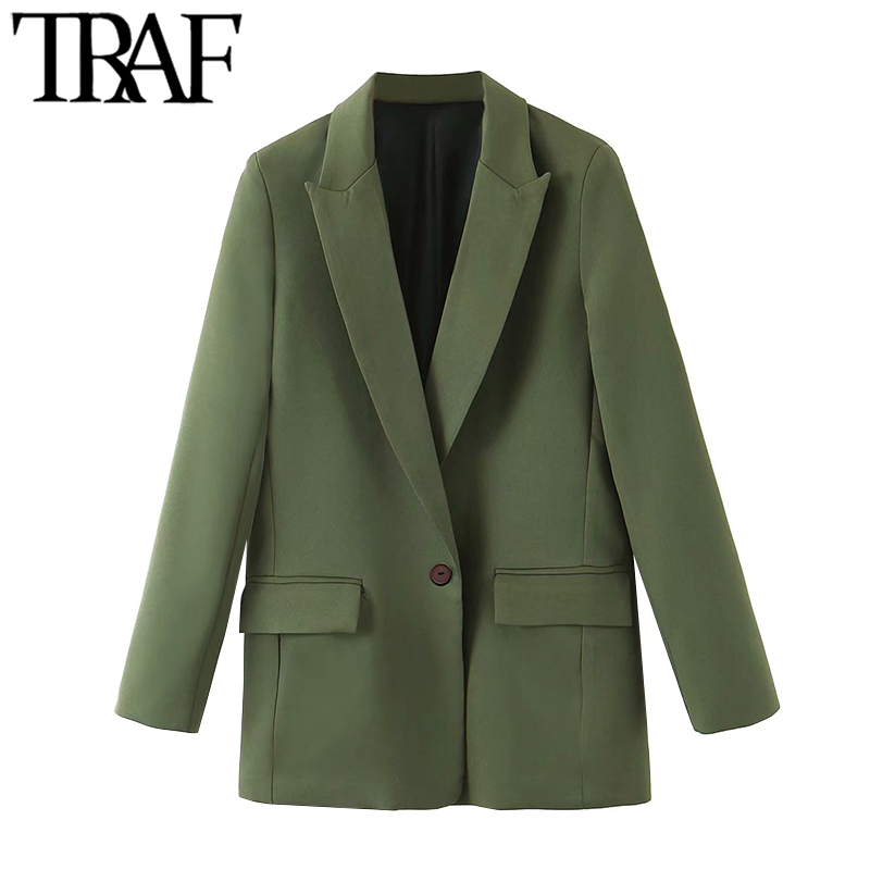 TRAF Women Fashion Office Wear Pockets Blazer Coat Vintage Notched Collar Long Sleeve Female Outerwear Chic Tops