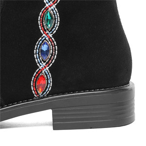 Image 4 - MORAZORA 2020 top qualität wildleder leder knie hohe stiefel frauen kristall zip Ethnische stil herbst winter stiefel frau casual schuhe