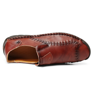 Image 5 - New Soft PU Leather Shoes Men Hand Stitching Mens Casual Shoes Trend Leather Shoes Male Soft Bottom Outdoor Shoes Plus Size 48