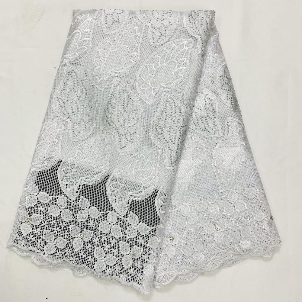 White African Cotton Net Lace Fabric For Wedding Dress 2020 High Quality Cotton African Lace Fabrics 5 Yards Nigerian Ankara