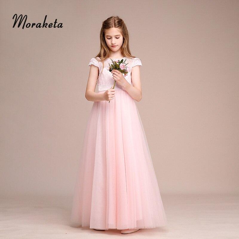 Princess Floor-length Tulle Pink Flower Girl Dresses For Wedding Scoop Neck A-line  Backless Long Junior Bridesmaid Dresses