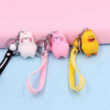2019 Creative Design Cartoon Key chain Silicone leather Rope Big Mouth Duck Chains Kawaii Kitten Childrens Gift
