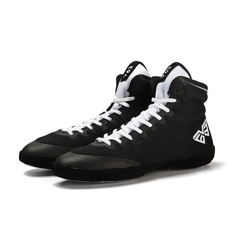 Мужская борцовская обувь, износостойкая Спортивная боксерская обувь, дышащие бои с высоким берцем, мягкие мужские тренировочные кроссовки D0877 - Цвет: Черный