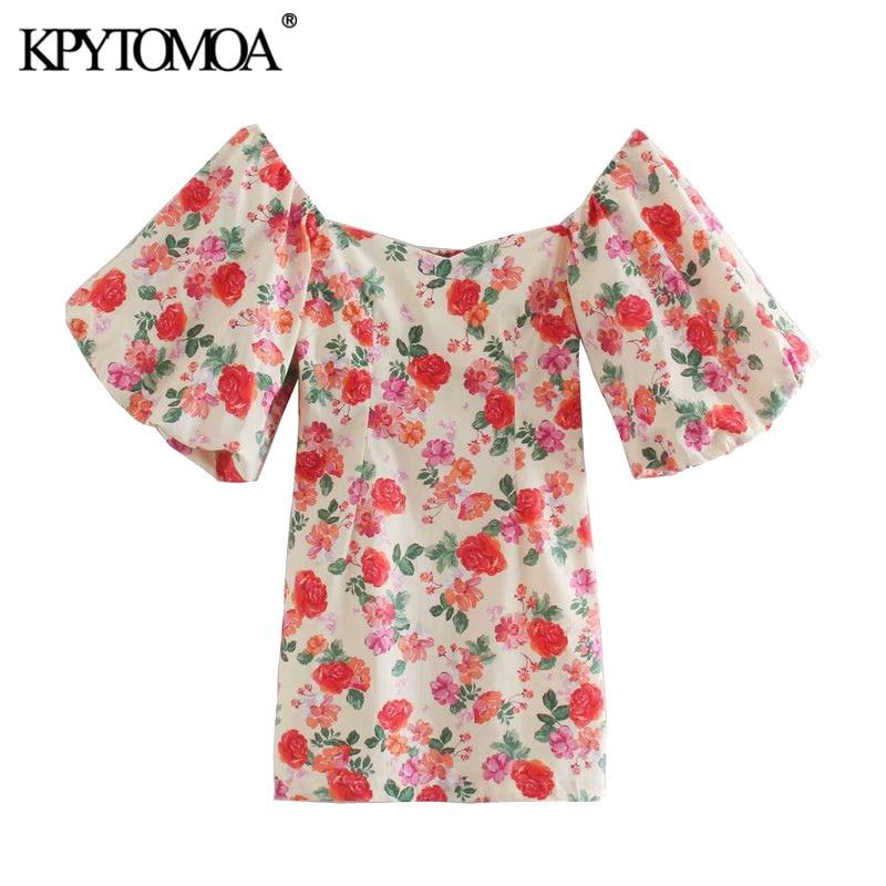 KPYTOMOA Women 2020 Chic Fashion Floral Print Side Zipper Mini Dress Vintage Puff Sleeve Back Elastic Beach Female Dresses Mujer