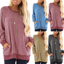 Autum Fashion Women Casual Color Block Long Sleeve Top O-Neck Pockets T-Shirts