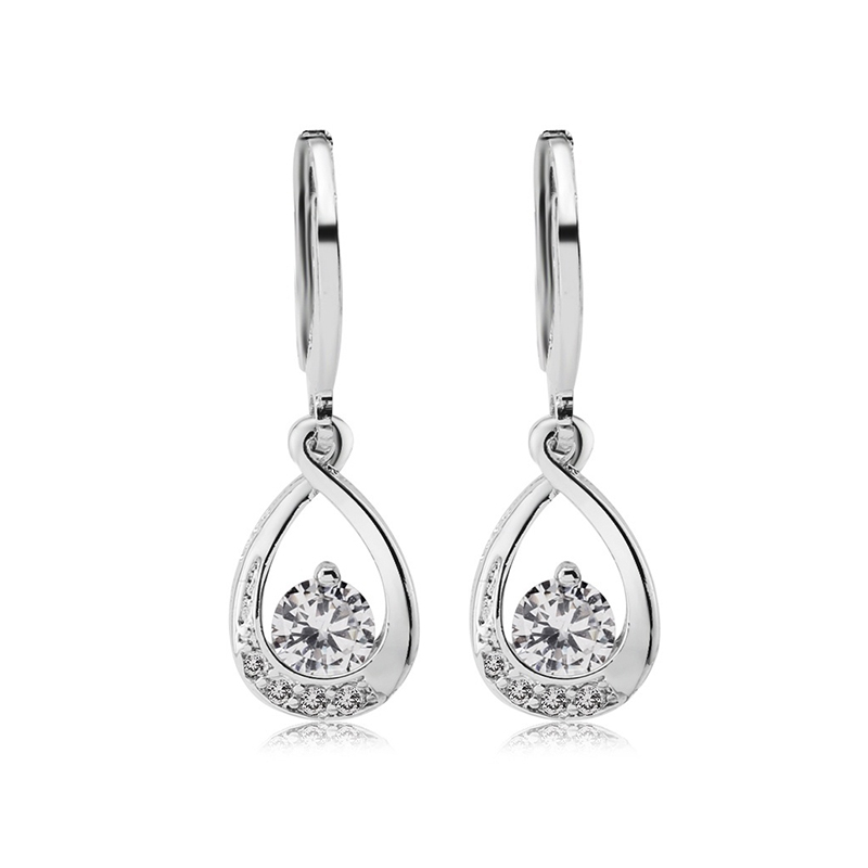 Exquisite Silver Plated Earring For Women Dazzling AAA Zircon Drop Earring New Fashion Party Gifts Jewelry