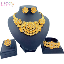Hot New Luxury Dubai Gold Jewelry Sets for Women Big Chunky Costume Necklace Women Bridal Jewellery Set Mothers Gifts new big african gold jewelry set for women nigerian necklace statement jewellery three tone necklace earrings