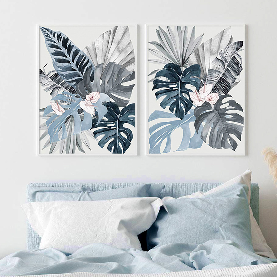 Watercolor Tropical Plants Leaves Blue Canvas Painting Wall Art Posters Prints Picture for Living Room Bedroom Home Decoration