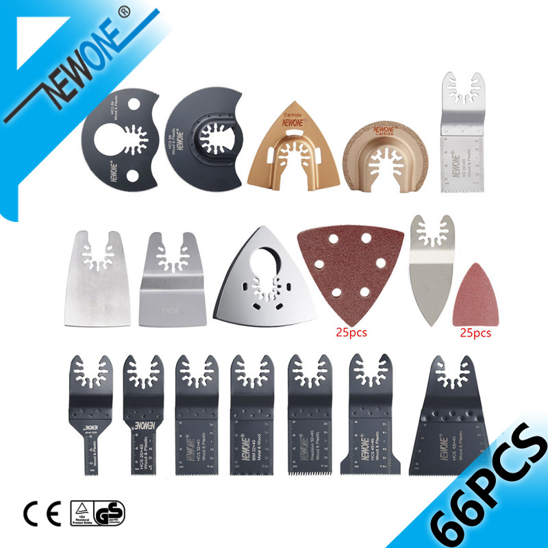 NEWONE 66PC Lama per sega oscillante a sgancio rapido in multi-utensili elettrici / Accessori per lame di precisione BIM per metallo / PVC / legno