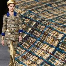 50x150cm France Gold Bar Tweed Fabrics For Woman Autumn Jacket Dress Suits Garme