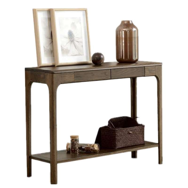 Pure Wood Porch Table Japanese Oak Modern Minimalist With Storage Console Table Rack